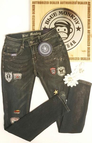 Blue Monkey Jeans Honey 1619 Patches Glanz Skinny