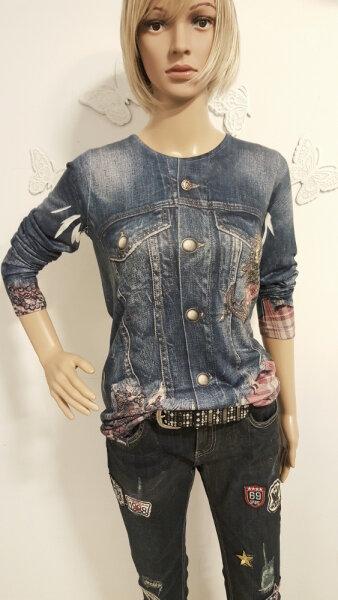 MISSY Shirt Glitzer Jeansmuster Anker