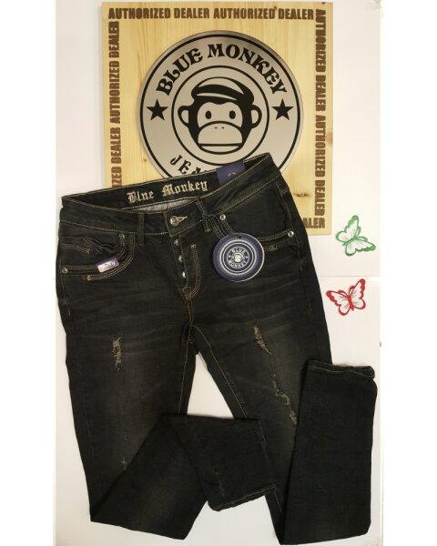 Blue Monkey Jeans April 1113 Skinny Schwarz (Laenge 34)