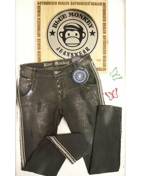 Blue Monkey Jeans Emma 1118 Streifen Dunkelgrau