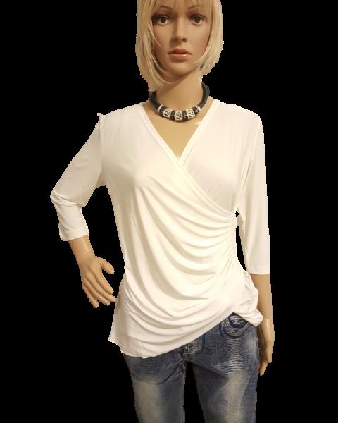 MISSY Shirt ECRU tolles BASIC Shirt gerafft