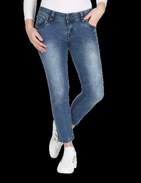 Blue Monkey Jeans Charlotte 3930  7/8 Skinny Blau Paillettenstreifen