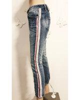 Blue Monkey Jeans HONEY 10174 Cropped Skinny seitl. Streifen