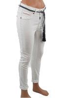 Blue Monkey Jeans VIVI 10431 cropped skinny white with belt