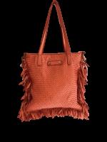 Stylische italienische Leder Tasche mit Fransen Orange