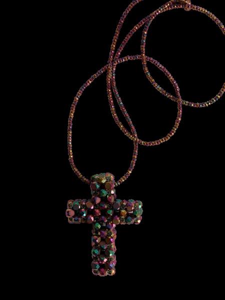 Stylische Kette gefertigt aus Swarovski-Steinen mit irisierendem Schimmer