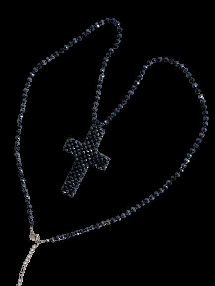Stylische Damenkette Kreuz in Dunkelblau