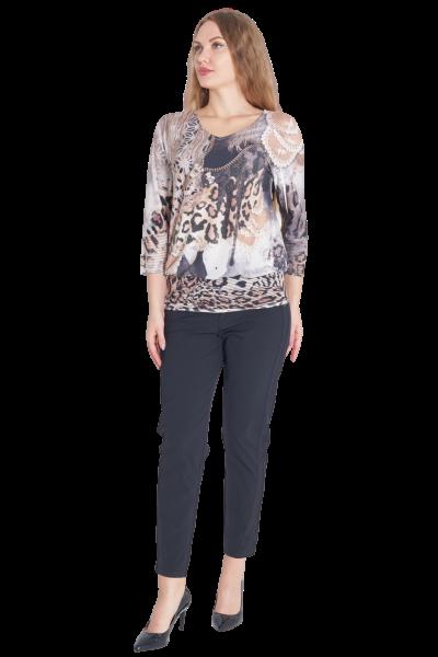 MISSY Shirt LEO PRINT Glitzereffekt
