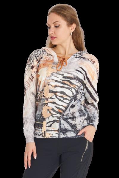 MISSY Shirt mit Kapuze Feinstrick Animal Print GOOD Glitzer