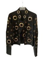 Stylische schwarze Jacke mit goldenen Ösen